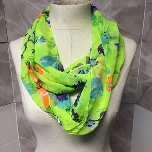 Neon Green Floral Scarf